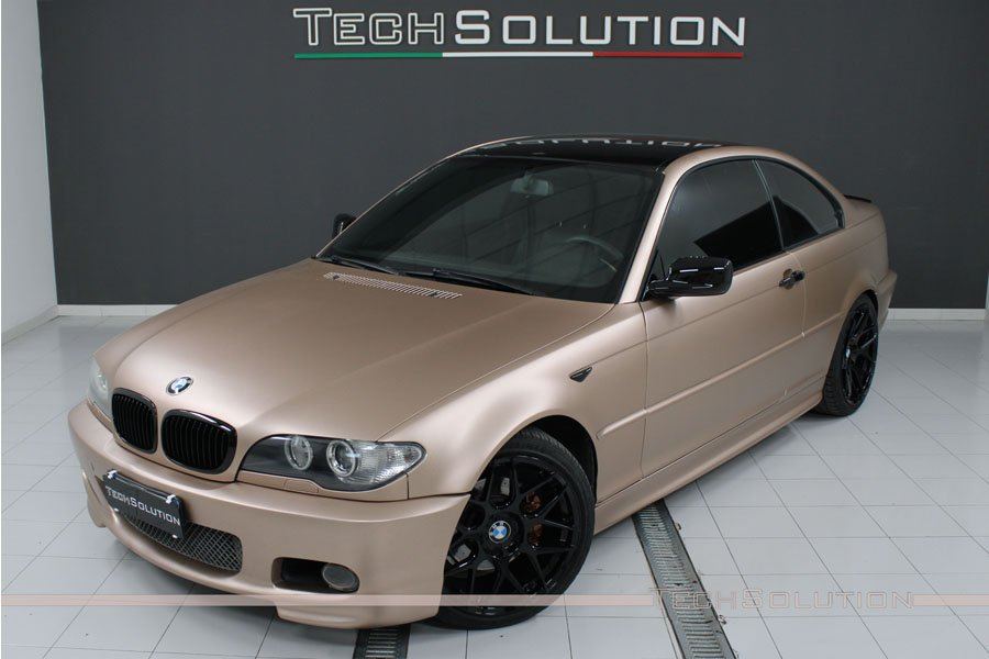 bmw e46 msport wrapping rose gold nero lucido apa frontale